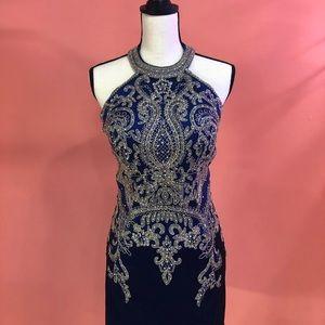 Navy blue dress with rhinestones💙